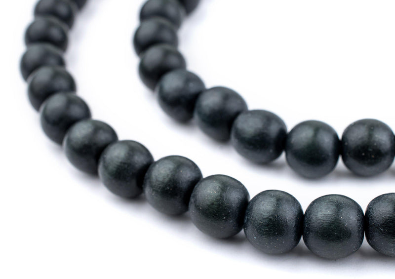 Charcoal Natural Wood Beads (10mm) - The Bead Chest