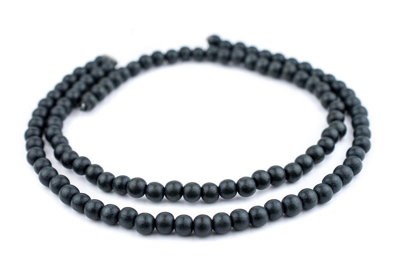 Charcoal Natural Wood Beads (8mm) - The Bead Chest