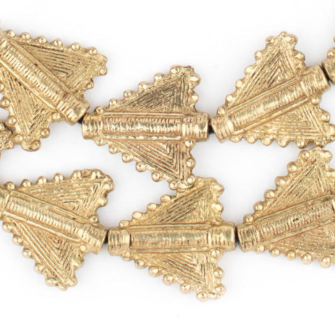 Image of Brass Triangular Baule Beads (27x26mm) - The Bead Chest
