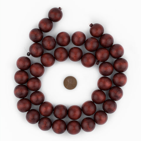 Cherry Red Round Natural Wood Beads (20mm) - The Bead Chest