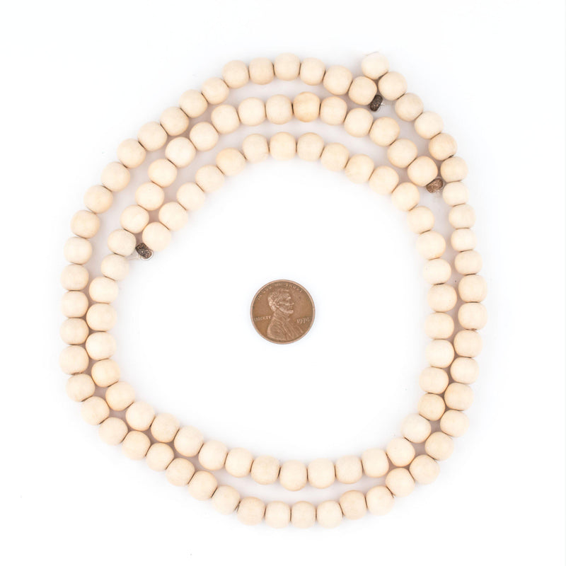 Cream Round Natural Wood Beads (8mm) - The Bead Chest
