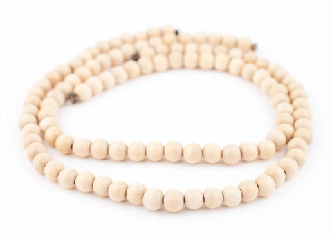 Image of Cream Round Natural Wood Beads (8mm) - The Bead Chest