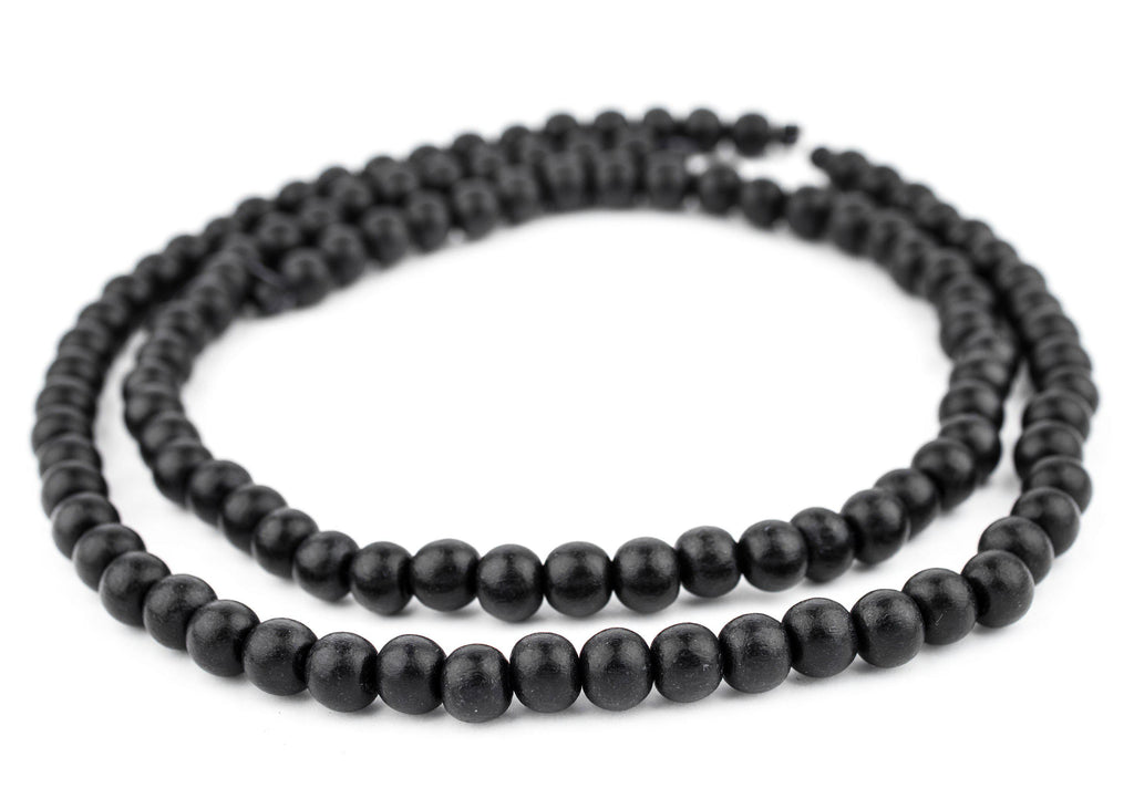 Black Round Natural Wood Beads (8mm) - The Bead Chest