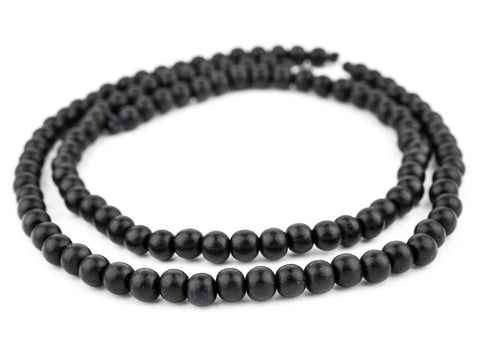 Image of Black Round Natural Wood Beads (8mm) - The Bead Chest