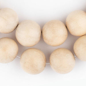 Cream Round Natural Wood Beads (20mm) - The Bead Chest