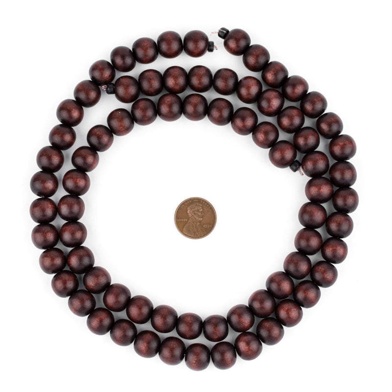 Dark Brown Round Natural Wood Beads (12mm) - The Bead Chest