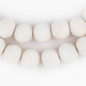 White Round Natural Wood Beads (10mm) - The Bead Chest