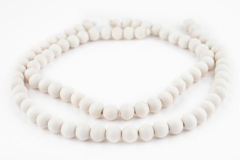 Image of White Round Natural Wood Beads (10mm) - The Bead Chest