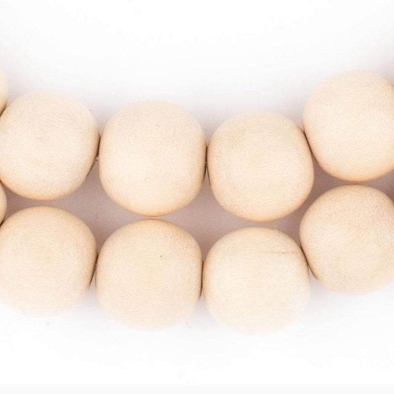 Cream Round Natural Wood Beads (12mm) - The Bead Chest