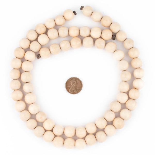 Cream Round Natural Wood Beads (12mm)