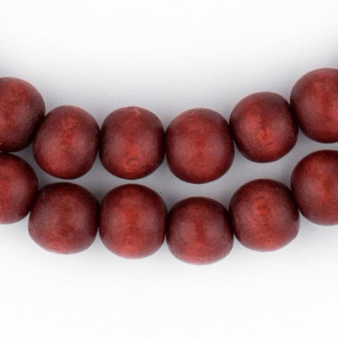 Cherry Red Round Natural Wood Beads (8mm) - The Bead Chest