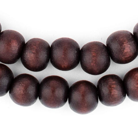 Image of Dark Brown Round Natural Wood Beads (8mm) - The Bead Chest