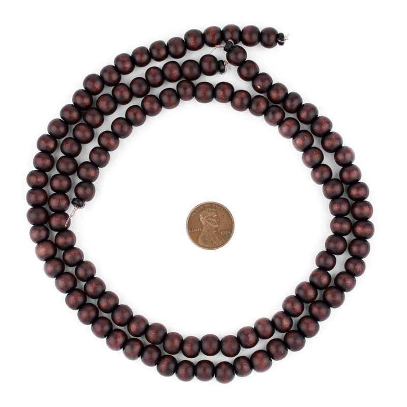 Dark Brown Round Natural Wood Beads (8mm) - The Bead Chest