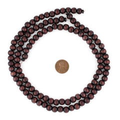 Dark Brown Round Natural Wood Beads (8mm)