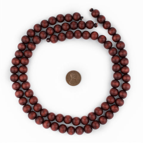 Cherry Red Round Natural Wood Beads (10mm) - The Bead Chest