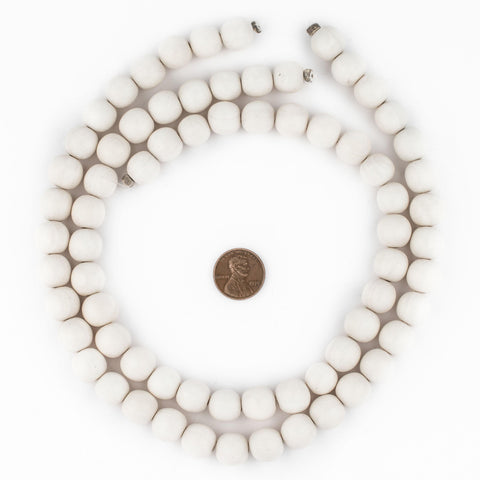 Image of White Round Natural Wood Beads (12mm) - The Bead Chest