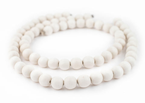 White Round Natural Wood Beads (12mm) - The Bead Chest