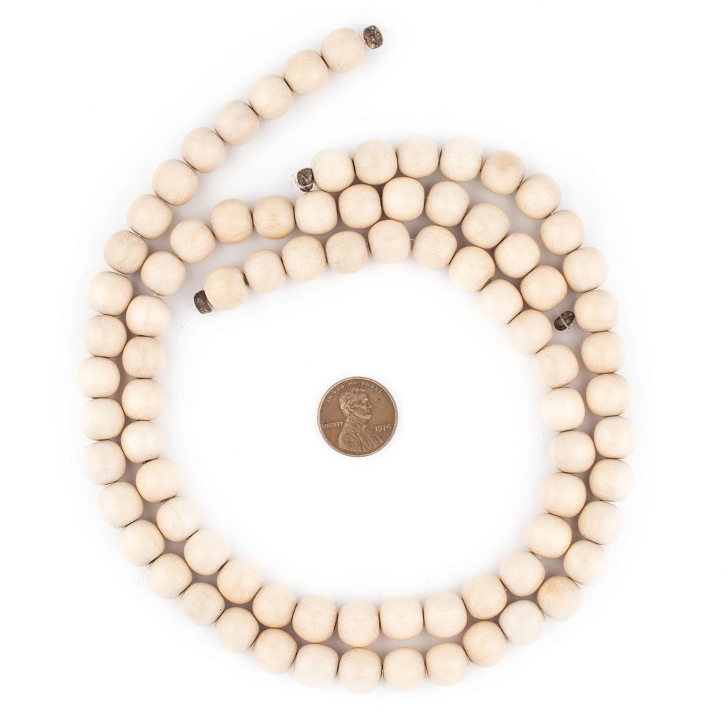 Cream Round Natural Wood Beads (10mm) - The Bead Chest