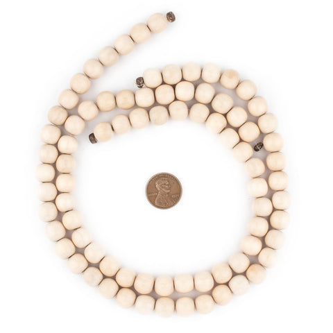 Image of Cream Round Natural Wood Beads (10mm) - The Bead Chest