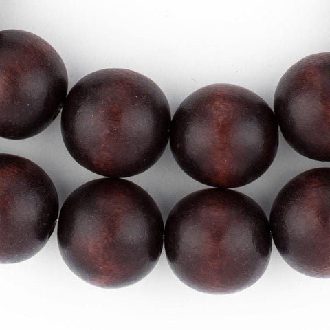 Dark Brown Round Natural Wood Beads (20mm) - The Bead Chest