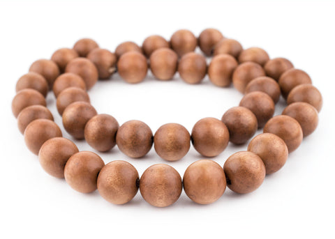 Light Brown Natural Wood Beads (20mm) - The Bead Chest