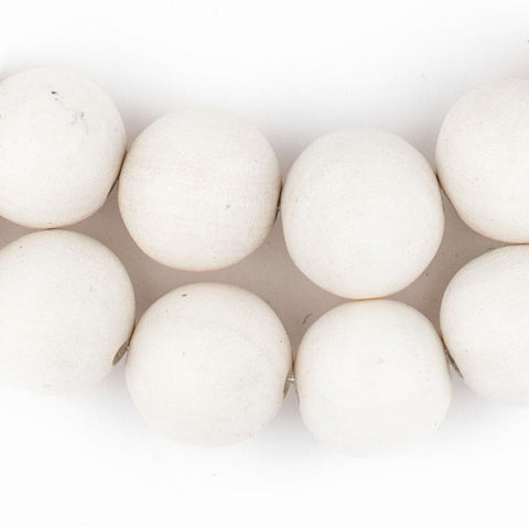White Round Natural Wood Beads (20mm) - The Bead Chest