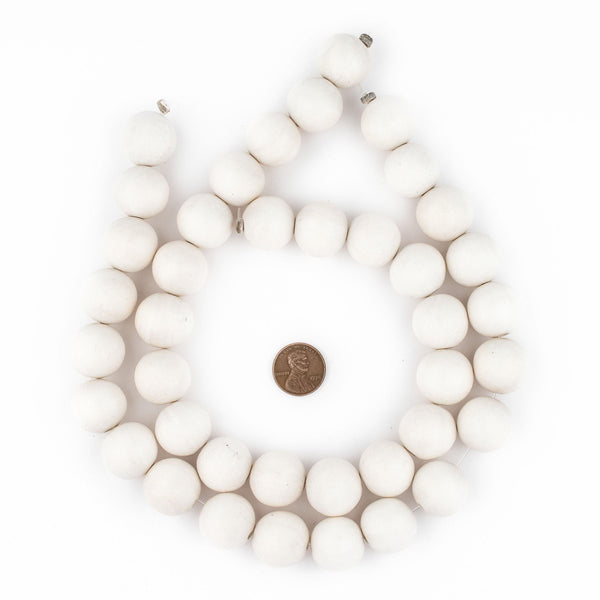 White Round Natural Wood Beads (20mm)