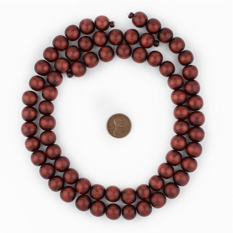 Cherry Red Round Natural Wood Beads (12mm) - The Bead Chest