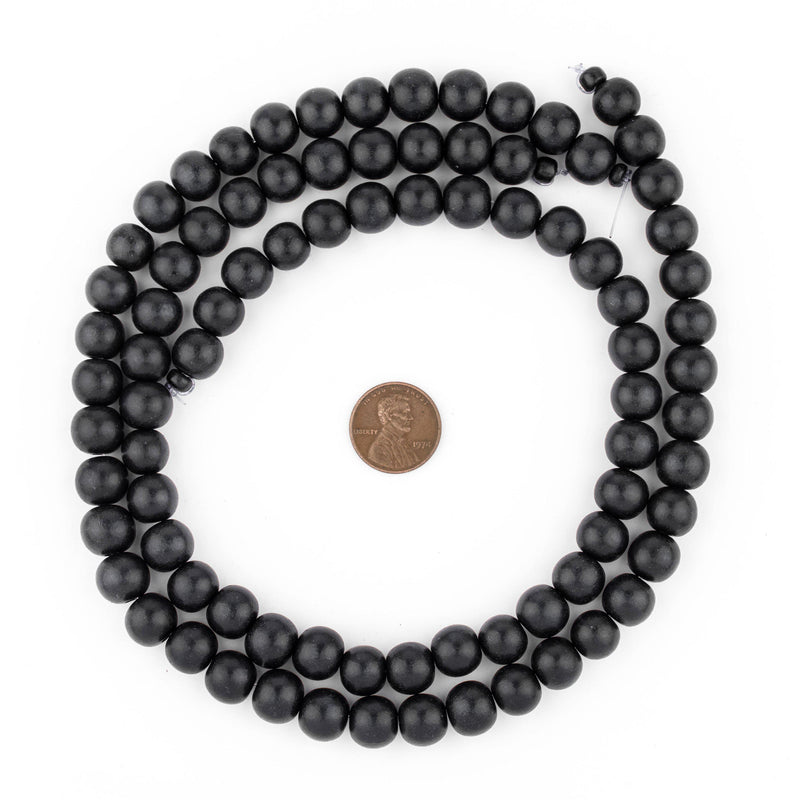 Black Round Natural Wood Beads (10mm) - The Bead Chest