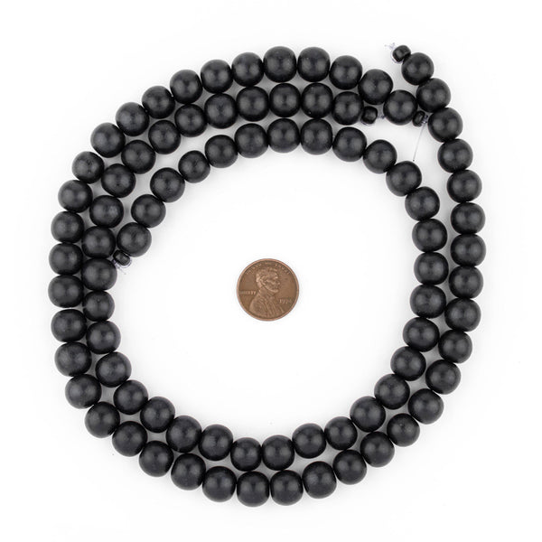 Black Round Natural Wood Beads (10mm)