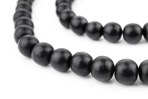Image of Black Round Natural Wood Beads (10mm) - The Bead Chest