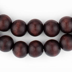 Dark Brown Round Natural Wood Beads (10mm) - The Bead Chest