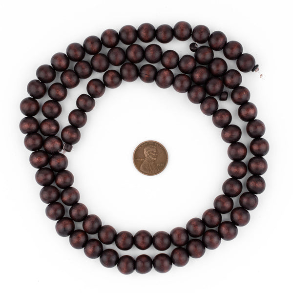 Dark Brown Round Natural Wood Beads (10mm)