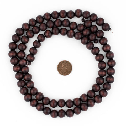Image of Dark Brown Round Natural Wood Beads (10mm) - The Bead Chest