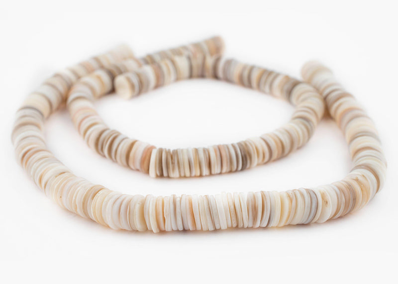 White Ocean Sea Shell Heishi Beads (12mm) - The Bead Chest