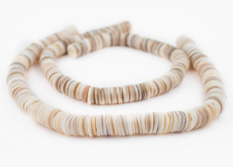 Image of White Ocean Sea Shell Heishi Beads (12mm) - The Bead Chest