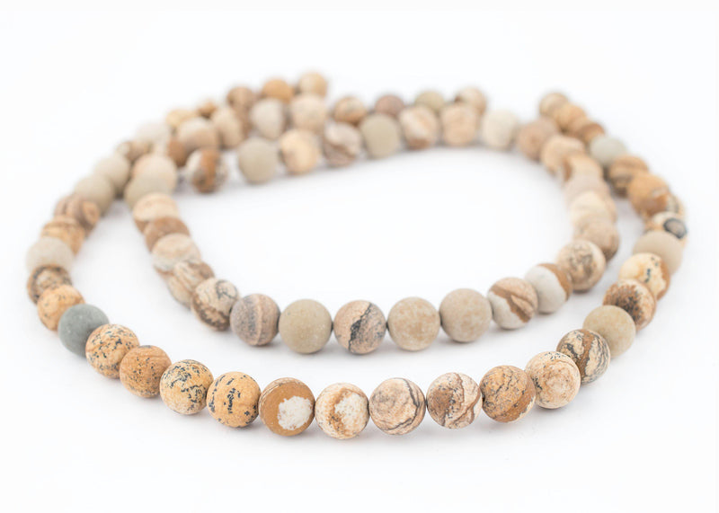 Round Matte Picture Jasper Beads (10mm) - The Bead Chest