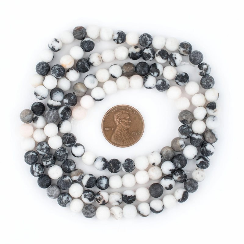Round Matte Zebra Jasper Beads (6mm) - The Bead Chest