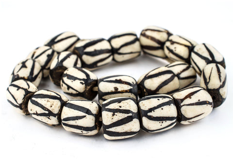 Diagonal Stripe Batik Bone Beads (Barrel) - The Bead Chest