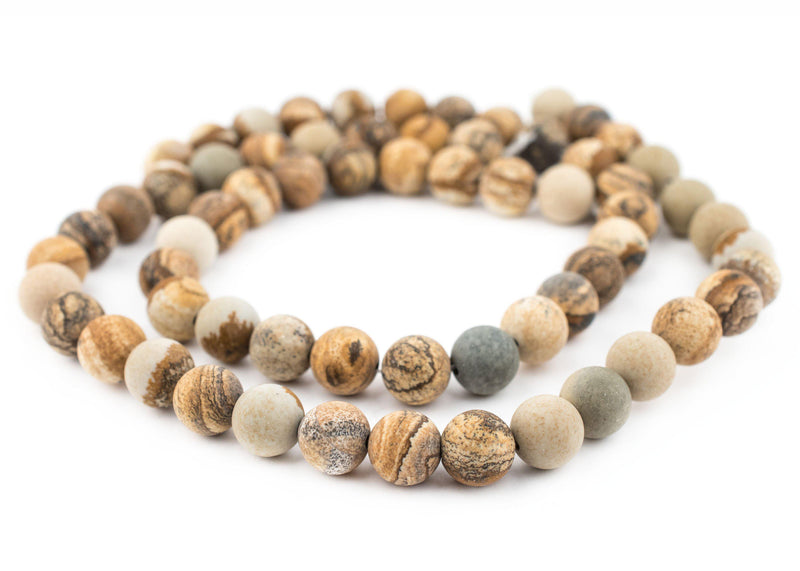 Round Matte Picture Jasper Beads (12mm) - The Bead Chest