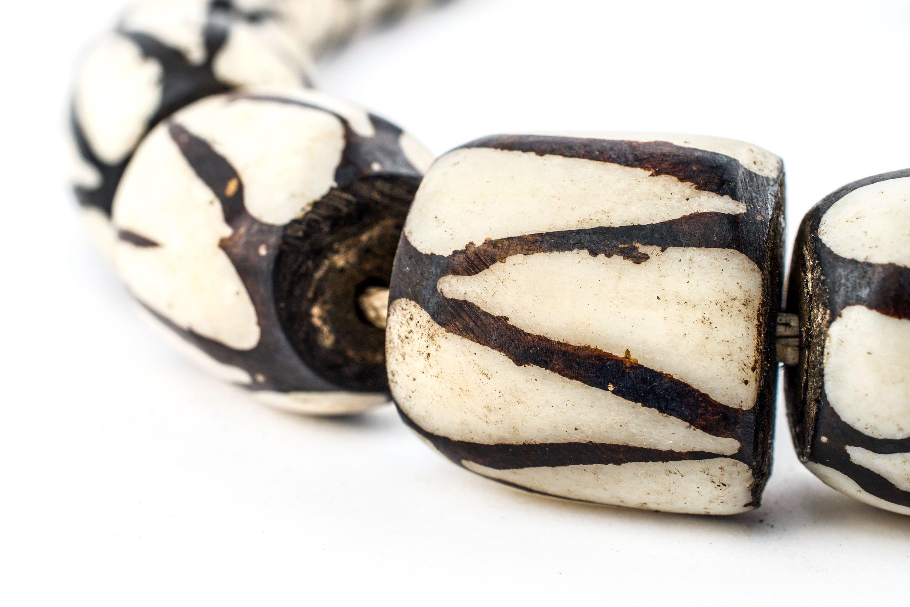 White Recycled Paper Beads from Uganda 13mm African Bicone 35 Inch Strand