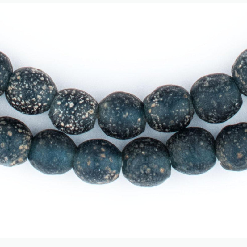 Dark Blue Ancient Style Java Glass Beads (9mm) - The Bead Chest