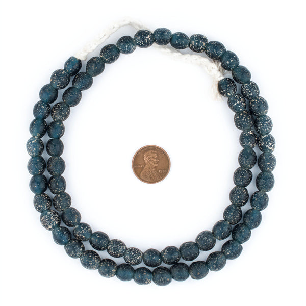 Dark Blue Ancient Style Java Glass Beads (9mm)