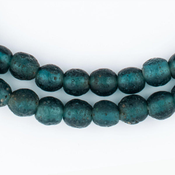 Teal Ancient Style Java Glass Beads (9mm) - The Bead Chest