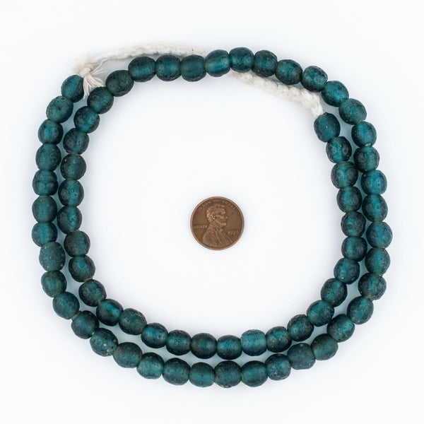 Teal Ancient Style Java Glass Beads (9mm)