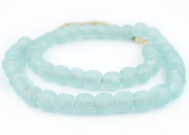 River Aqua Recycled Glass Beads (14mm) - The Bead Chest