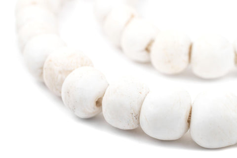 White Round Sandcast Beads (14mm) - The Bead Chest