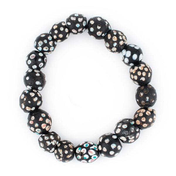 Black Antique Venetian Skunk Beads (Stretch Bracelet) - The Bead Chest