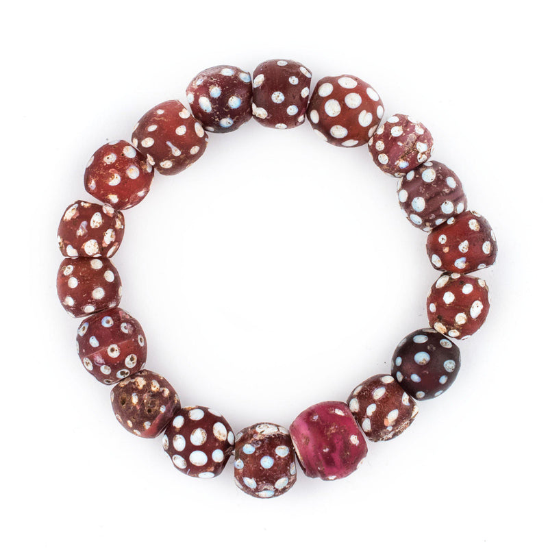 Red Antique Venetian Skunk Beads (Stretch Bracelet) - The Bead Chest
