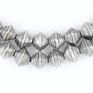 Striped Dark Silver Bicone Beads (9mm) - The Bead Chest